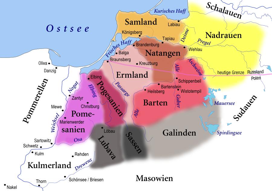 Prussische Stämme im 13. Jahrhundert, Foto: Wikimedia Commons, Renata3, GFDL, CC-BY-SA-3.0