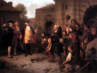 Empfang der Salzburger Protestanten durch König Friedrich Wilhelm I. in Berlin, Gemälde C.J.F. Cretius, CC-PD
