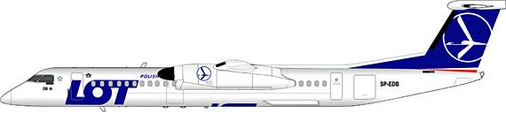 Bombardier Q400 der LOT Polish Airlines fliegt von Warschau nach Szymany