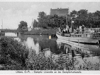 Dampfer Loewentin in Loetzen, Ansichtskarte Verlag Paul Kühne, Lötzen,l ca.1920, CC-PD