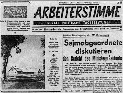 Publikation-Auslandsmedien-Arbeiterstimme Polen 1951-1958 Breslau, Foto: Björn Akstinat, IMH