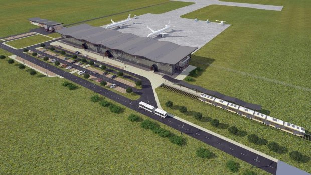 Visualisation des Bahnhofs am Flughafen in Szymany