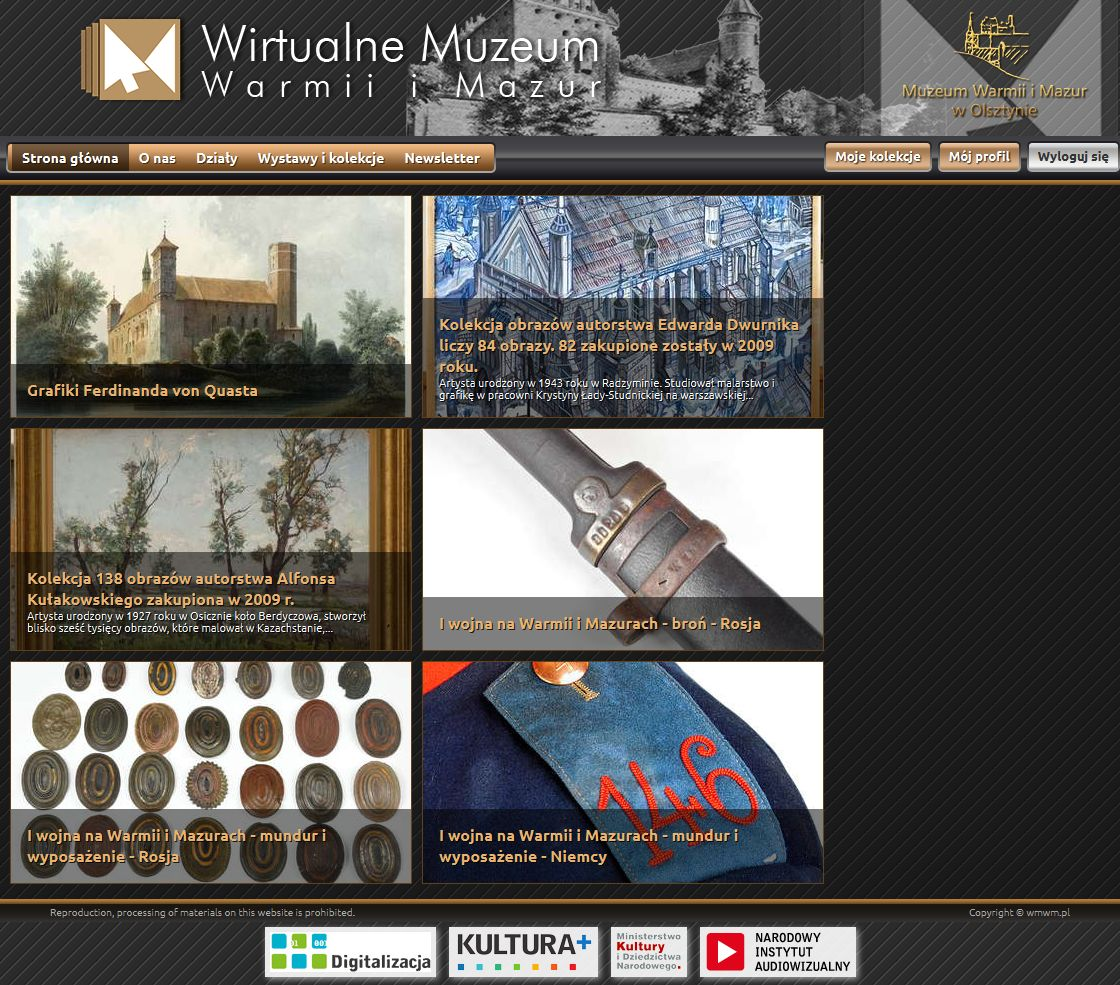 Virtuelles Museum Ermland-Masuren,WirtualneMuzeum Warmii Mazur, Screenshot