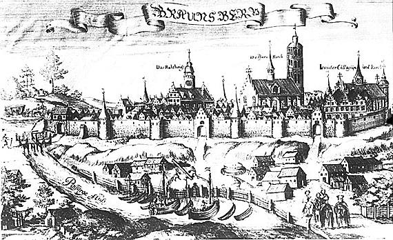 """Blick auf das alte Braunsberg 1684, Foto: aus Christoph Hartknochs """"Alt- und Neues Preussen"""",CC0"""