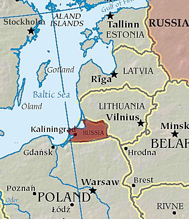 Das Kaliningrader Gebiet von EU und NATO umgeben, Foto: CIA World Factbook , CC BY-SA 3.0