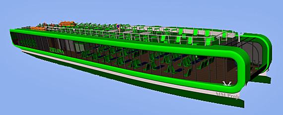 Die Postmoderne hält Einzug mit einem Speedkatamaran, Foto: Visualisierung http://www.faryj.pl/nowy-statek