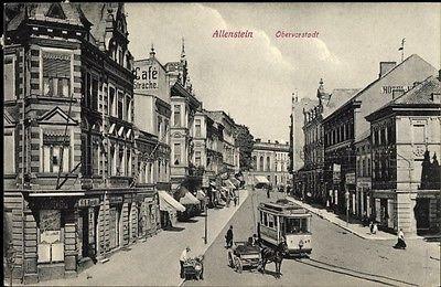 Die alte Straßenbahn in Allenstein, Foto: Ansichtskarte, CC0